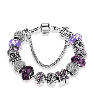 Yoga-Supreme™ Purple Murano Glass Alzheimer Awareness Bracelet