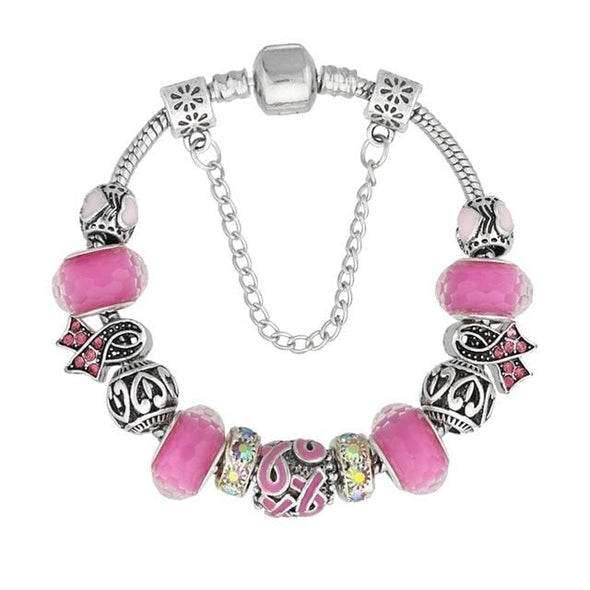 Yoga-Supreme™ Murano Glass Breast Cancer Bracelet