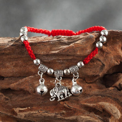 Yoga-Supreme™ Red Rope Elephant Charm Bracelet