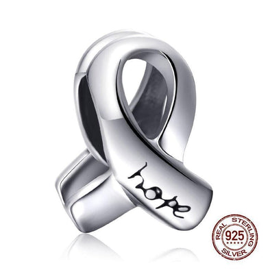 Yoga-Supreme™ Sterling Silver Ribbon Hope Charm