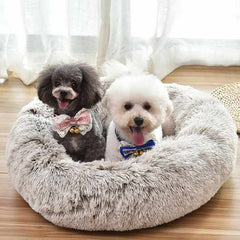 dog calming bed for small cute dog breeds white