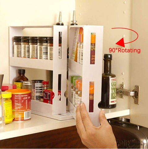messy kitchen,kitchen drawer organizer,shelf rack for kitchen,pull out cabinet organizer,cabinet slide out shelves,save space in kitchen,innovative design  Under cabinet spice rack