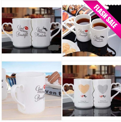 Kissing His and Hers Coffee Mugs
