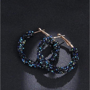 Charm Austrian crystal hoop earrings earrings sortedfactory C1072-BLUE
