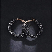 Load image into Gallery viewer, Charm Austrian crystal hoop earrings earrings sortedfactory C1073-BALCK