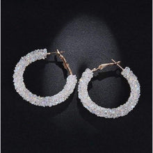 Load image into Gallery viewer, Charm Austrian crystal hoop earrings earrings sortedfactory C1074-WHITE