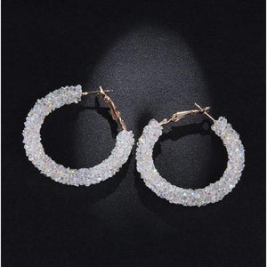 Charm Austrian crystal hoop earrings earrings sortedfactory C1074-WHITE
