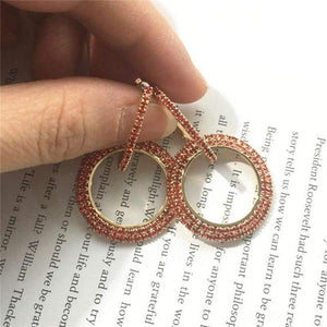 Elegant Crystal Earrings - gold-red - earrings