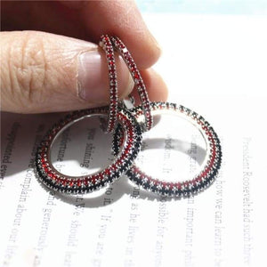 Elegant Crystal Earrings - silver-black red - earrings