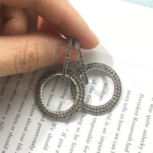 Elegant Crystal Earrings - silver-grey - earrings