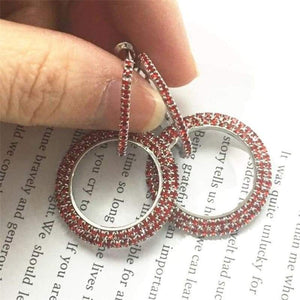 Elegant Crystal Earrings - silver-red - earrings