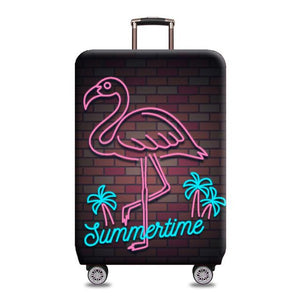 Travel Around The World | Standard Design | Luggage Suitcase Protective Cover interesting sortedfactory Neon flamingo S