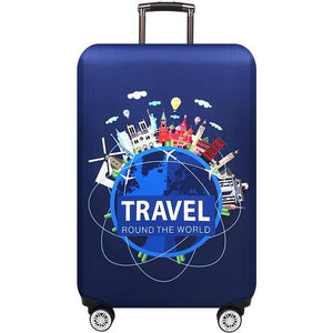 Travel Around The World | Standard Design | Luggage Suitcase Protective Cover interesting sortedfactory Blue Travel World S