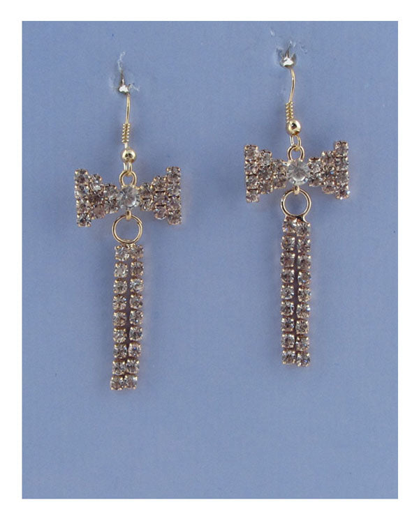 Drop rhinestone bow earrings