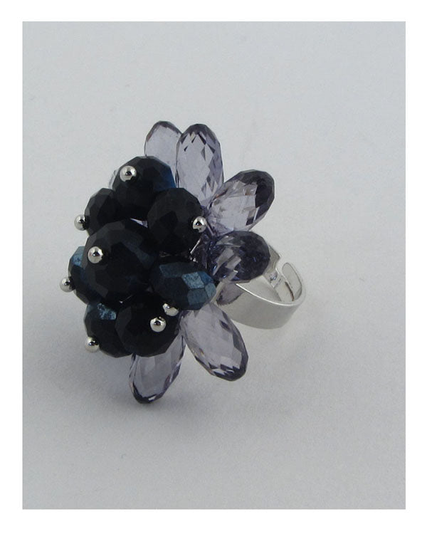 Flower shape adjustable crystal ring