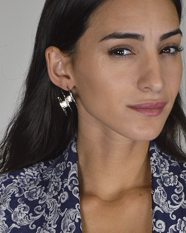 Crystal Studded Earrings with Three Rings