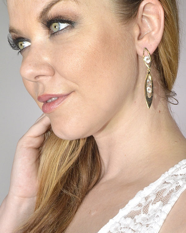 Double Elliptical Crystal Drop Earrings