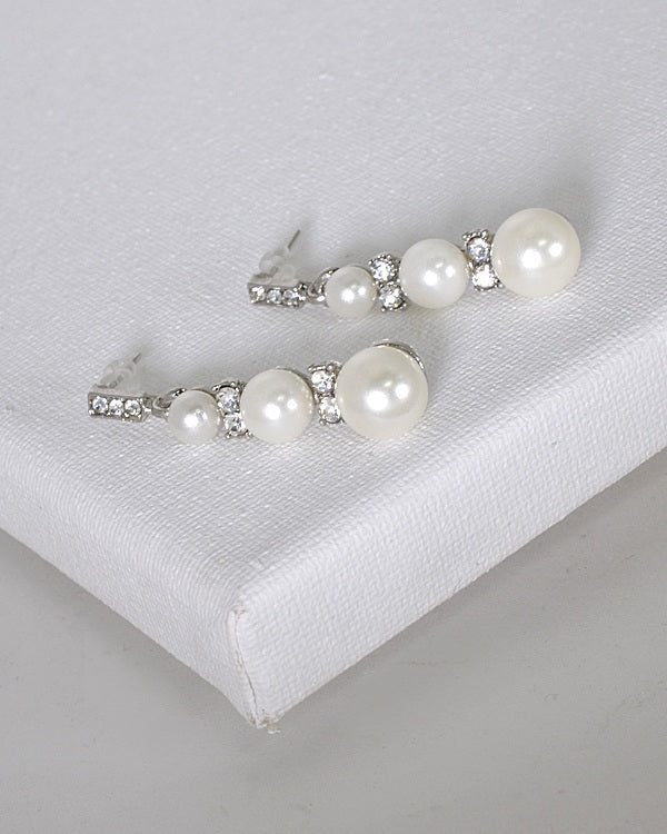 Pearl and Stone Studded Drop Earrings