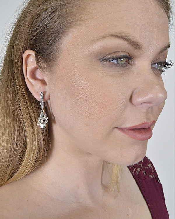 Crystal Studded Drop Earrings
