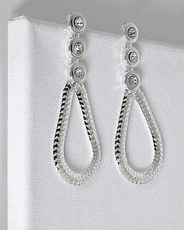Crystal Studded Tear Drop Shaped Drop Earrings