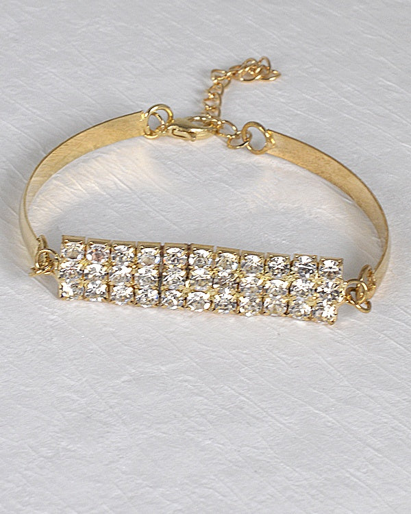 Rhinestone Embellished Bracelet with Lobster Clasp Closure