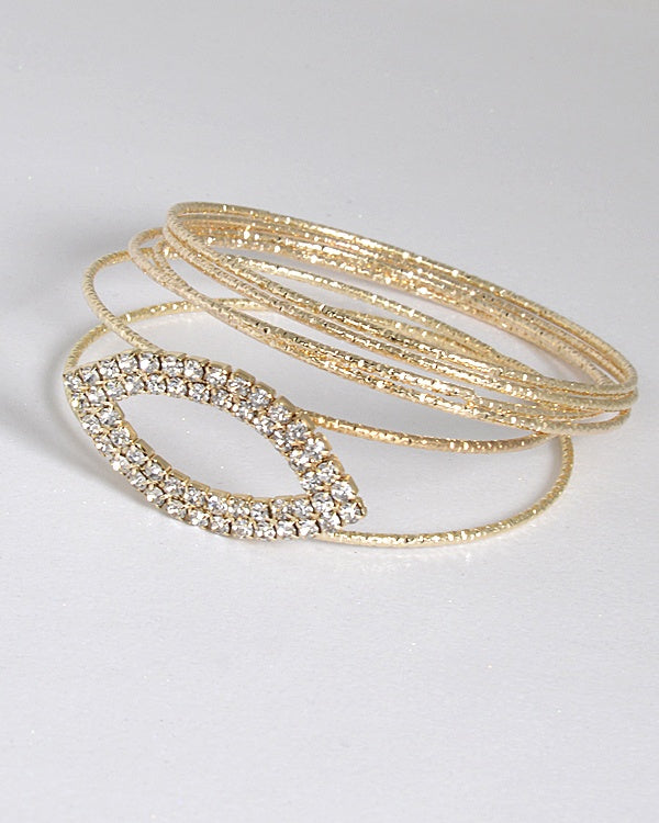 Set of Textured Bangles and Rhinestone Embellished Bracelet