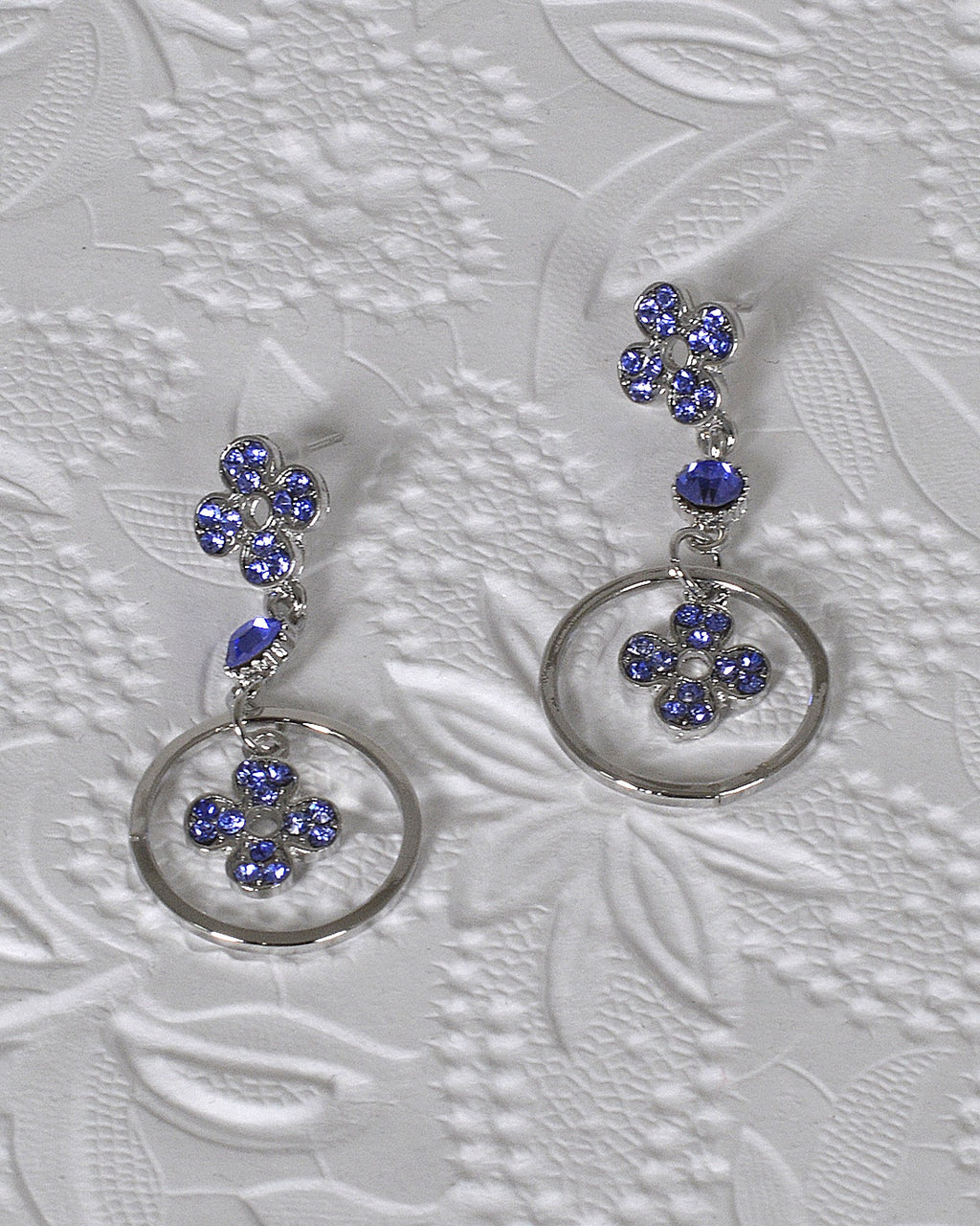 Rhinestone Studded Metallic Floral and Ring Detailing Drop Earrings