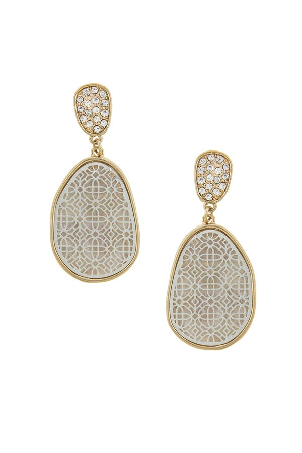 Irregular oval laser cut filigree earrings