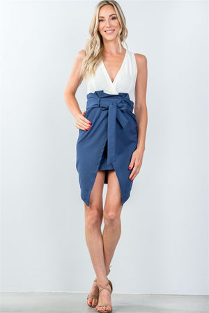 Ladies fashion navy and white color block mini dress with split front