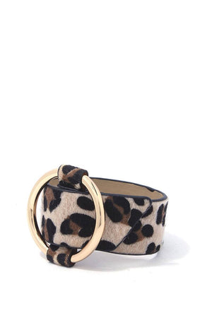 Animal print metal ring bracelet