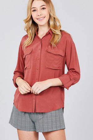 3/4 Roll Up Sleeve Chest Flap Pocket Woven Shirts