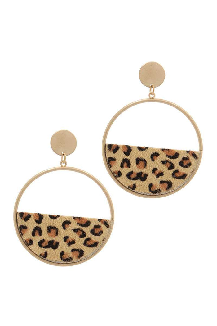 Half Animal Print Metal Post Drop Earring