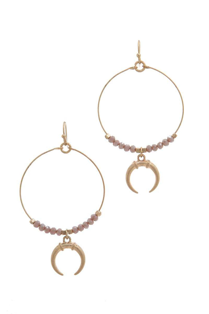 Double Horn Charm Beaded Drop Earring