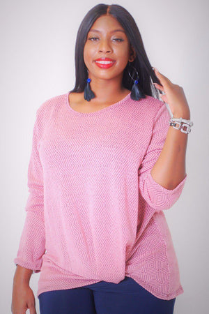 Stretchy Two Tone Knit, Diamond Pattern Long Sleeves Top