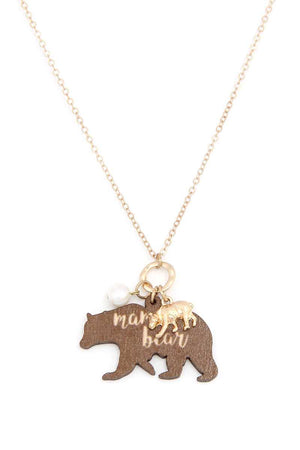 Mama Bear Double Charm Necklace