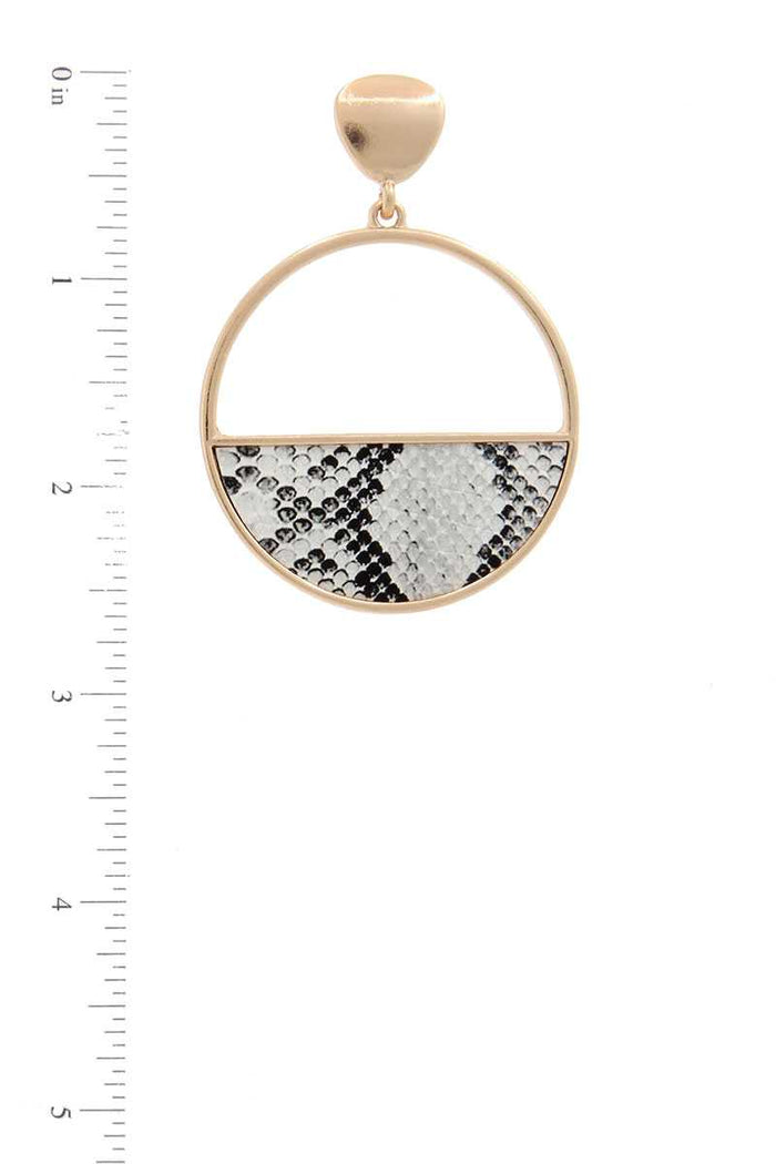 Half Snake Pattern Circle Drop Earring