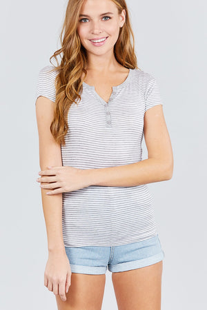 Short Sleeve Contrast Henley Neck Stripe Rayon Spandex Knit Top