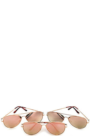 Trendy Pink Reflect Aviator Sunglasses