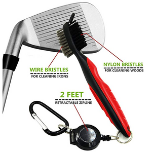 Golf Club Brush and Club Groove Cleaner 2 Ft Retractable