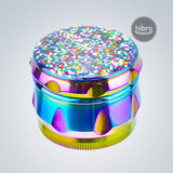 "1.6"" RAINBOW METAL GRINDER WITH SHINNY GLITTER ON TOP"