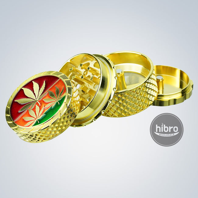 "2"" GOLDEN GRINDER RASTA LEAF - 4PC"