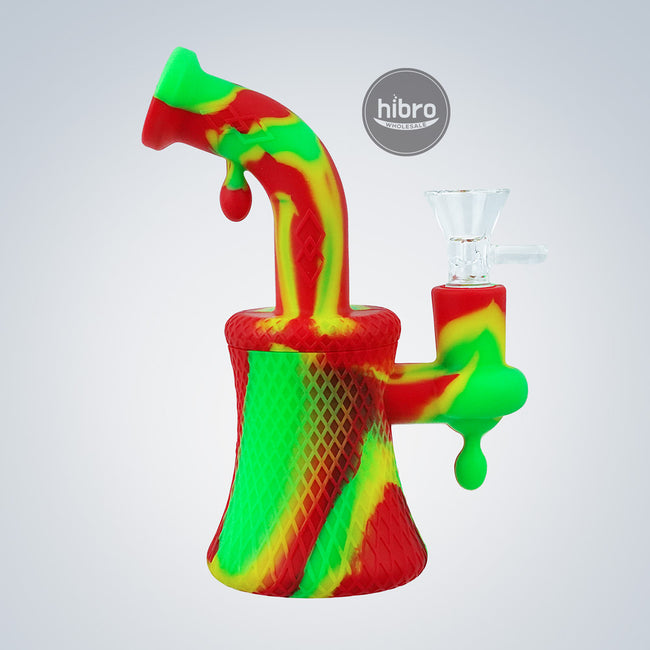 "6.5"" SILICONE DIAMOND WATER PIPE RIG STYLE"