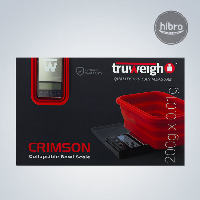 TRUWEIGH CRIMSON COLLAPSIBLE BOWL 200G X 0.01G - BLACK / RED BOWL
