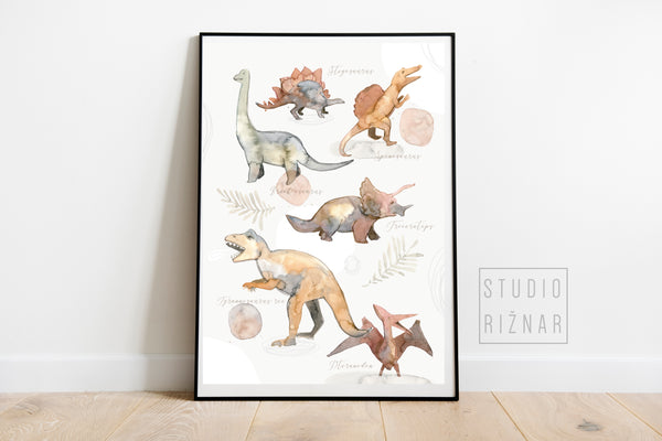 Watercolor DINOSAURS Art Print