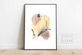 Abstract watercolor ART PRINT // no.1 yellow