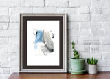 Abstract watercolor ART PRINT // no.3 blue