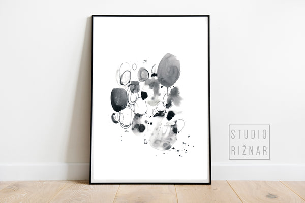 Abstract watercolor ART PRINT // BLACK AND WHITE