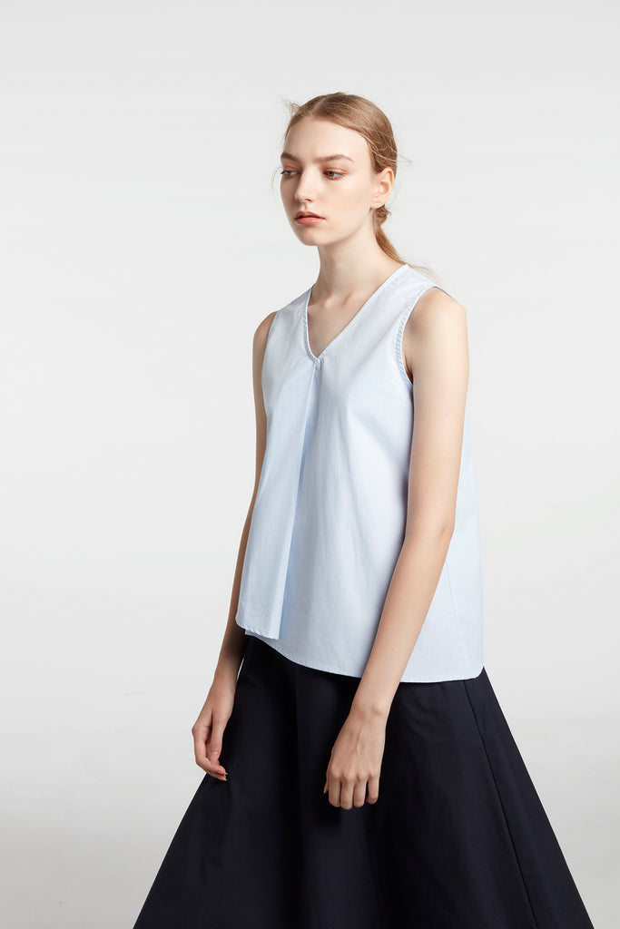 Sky Blue Draped V-neck Top