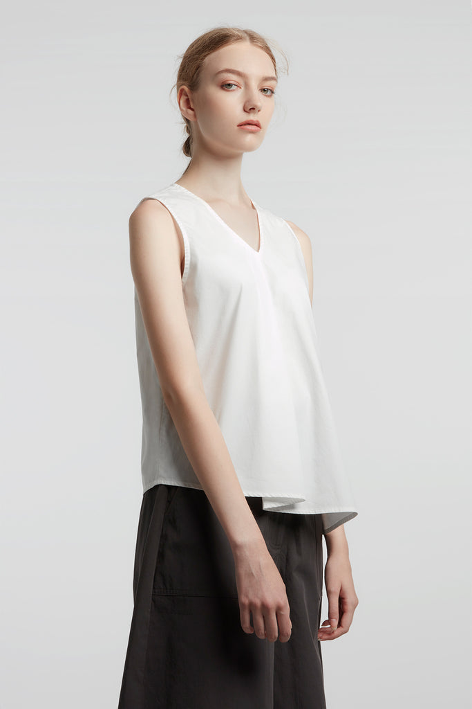 White Draped V-neck Top