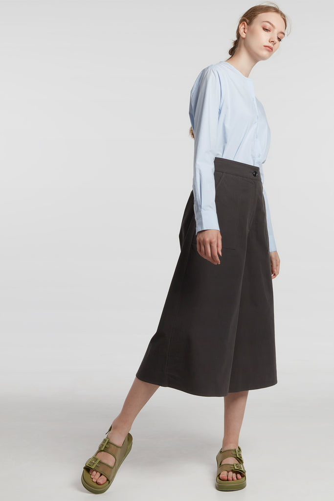 Charcoal Wide-Leg Culottes